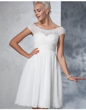 Bateau Lace Applique Ruched White Tulle Short Wedding Dress WD2024
