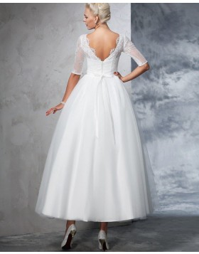 Lace Bodice Sheer Neck Princess Ankle Length Wedding Dress with Half Length Sleeves WD2025