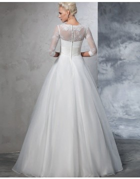 High Neck Lace Bodice White Ruched A-line Tulle Wedding Dress with Half Length Sleeves WD2026