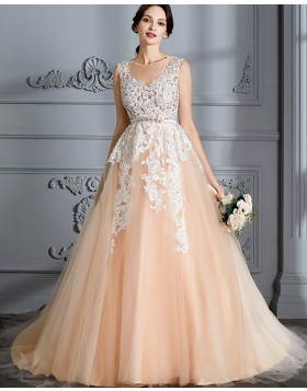 Jewel Appliqued Champagne Tulle Wedding Dress with Belt WD2027