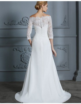 Off the Shoulder Lace Appliqued White Sheath Wedding Dress with Half Length Sleeves WD2028