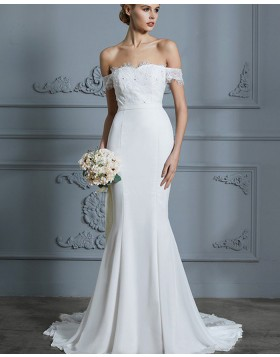 Off the Shoulder Chiffon Lace Appliqued Mermaid White Wedding Dress WD2029