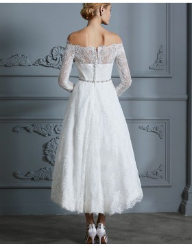 Off the Shoulder Lace High Low Ivory Wedding Dress with Long Sleeves WD2030