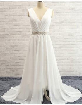 V-neck Ruched Beading Chiffon Ivory Simple Wedding Dress with Side Slit WD2031