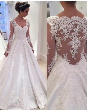 V-neck A-line Lace Appliqued Satin White Wedding Dress with Long Sleeves WD2034