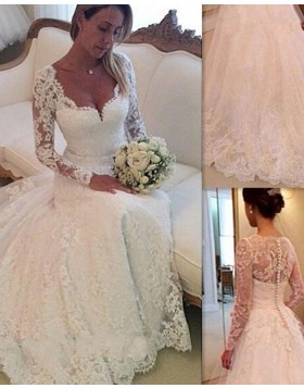 Square Lace A-line Ivory Princess Wedding Dress with Long Sleeves WD2035