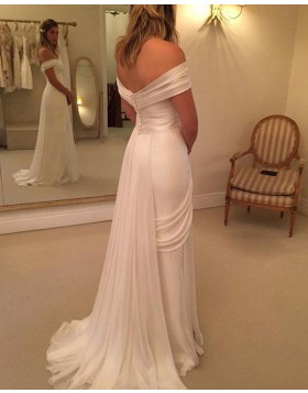 Simple Off the Shoulder White Ruched Wedding Dress with Side Slit WD2036