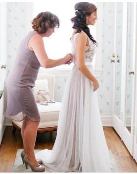 Jewel Lace Bodice Tulle Ivory Beach Wedding Dress WD2038