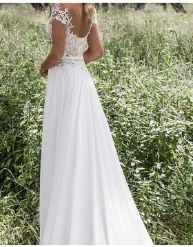 Sheer Neck Lace Bodice Ivory Wedding Dress with Double Side Slit WD2040