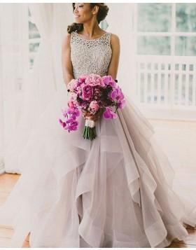 Jewel Lace Bodice Ruffled Tulle Ivory Wedding Dress WD2041