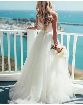 Simple Spaghetti Straps White Tulle Princess Wedding Dress WD2044
