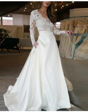 V-neck Lace Bodice White Satin Fall Wedding Dress with Long Sleeves WD2047