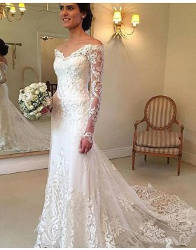 Off the Shoulder Lace Appliqued White Tulle Mermaid Wedding Dress with Long Sleeves WD2049