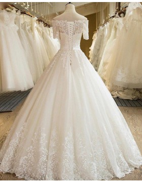 Off the Shoulder Lace Appliqued Pleated Ivory Wedding Gown with Short Sleeves WD2053