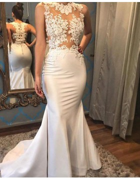 High Neck Appliqued Satin Mermaid White Wedding Dress WD2054