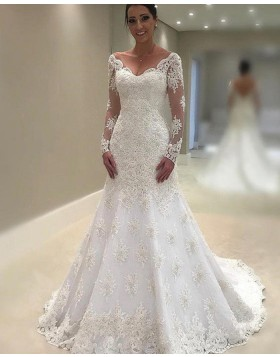 Off the Shoulder Lace Appliqued White Mermaid Wedding Dress with Long Sleeves WD2055