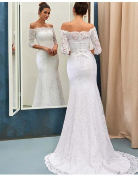 Off the Shoulder White Lace Mermaid Wedding Dress with Half Length Sleeves WD2056