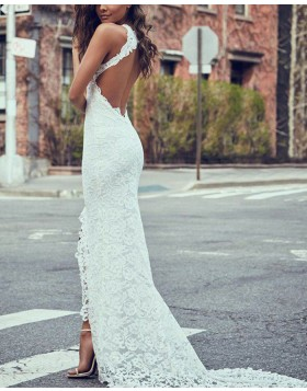 High Neck Lace Ivory Mermaid Wedding Dress with Side Slit WD2057