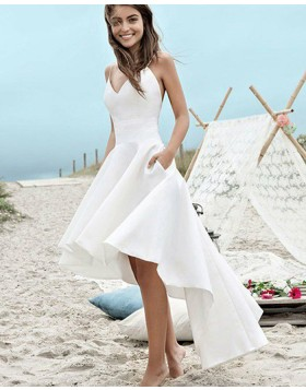 Spaghetti Straps High Low White Satin Beach Wedding Dress with Pockets WD2058