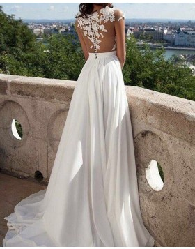 Sheer Neck Appliqued Bodice Chiffon Pleated Wedding Dress with Side Slit WD2059