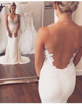 Sheer Neck Lace Appliqued Bodice White Mermaid Wedding Dress WD2062