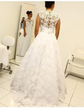 Elegant High Neck White Lace A-line Wedding Dress WD2063