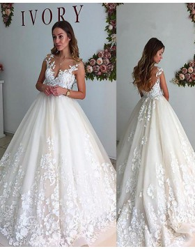 Sheer Neck Lace Appliqued Ivory Pleated Wedding Gown with Open Back WD2068