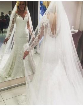 Gorgeous V-neck Ivory Lace Mermaid Wedding Dress with Long Sleeves WD2071
