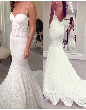 Spaghetti Straps Lace Mermaid Wedding Dress with Open Back WD2073