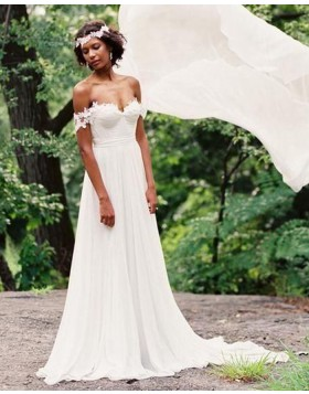 Simple Off the Shoulder Ruched Applique Chiffon Wedding Dress WD2074