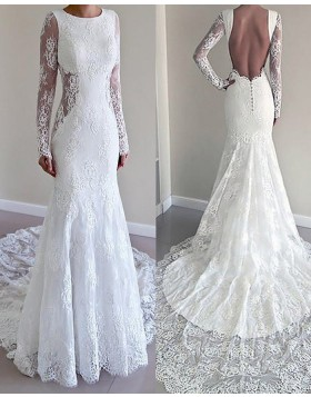 Jewel White Lace Mermaid Style Wedding Dress with Long Sleeves WD2075