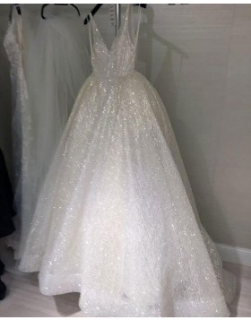 Unique Sparkle V-neck Sequin Ivory A-line  Wedding Dress WD2080