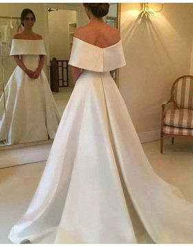 Simple Off the Shoulder Layered Neck A-line Satin Fall Wedding Dress WD2082