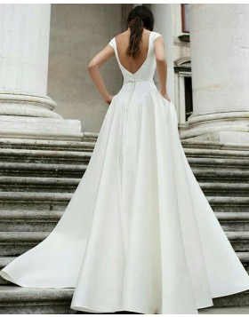 Simple Jewel White A-line Satin Wedding Dress with Pockets WD2087