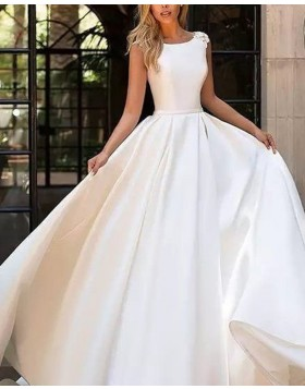 Simple Jewel White Pleated Satin Fall Wedding Dress with Appliques WD2091