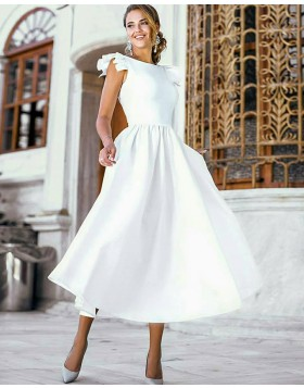 Tea Length White Pleated Satin Jewel Wedding Dress with Cap Sleeves WD2092