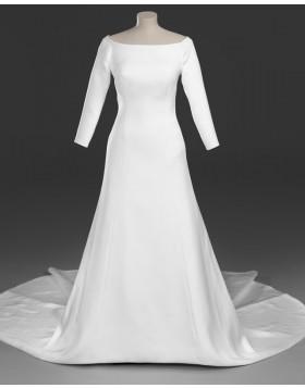 Scoop Simple Sheath Satin Royal Wedding Dress with 3/4 Length Sleeves WD2096