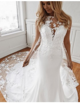 Gorgeous 3D Flower Applique Mermaid White Wedding Dress with Chapel Train WD2100