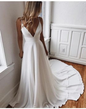 Simple Spaghetti Straps Chiffon White Wedding Dress with Court Train WD2101