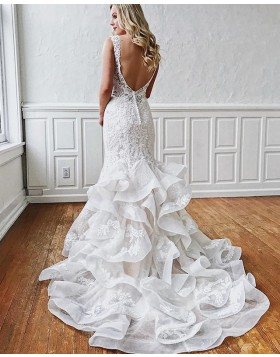 Gorgeous Deep V-neck Lace White Ruffle Mermaid Wedding Dress WD2102