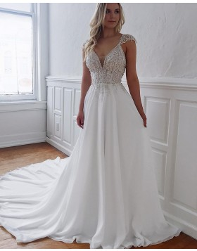 White V-neck Lace Bodice A-line Wedding Dress with Chapel Train WD2103