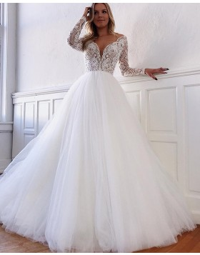 Deep V-neck Lace Bodice Tulle White Wedding Dress with Long Sleeves WD2104