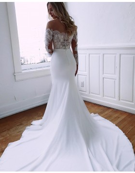 Sheer Neck Lace Applique Mermaid Chiffon Wedding Dress with Long Sleeves WD2105