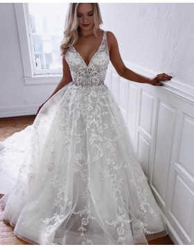 V-neck Pleated Lace A-line Ivory Wedding Dress with Chapel Train WD2106