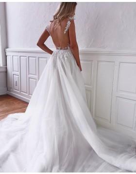 Elegant V-neck Lace Applique Tulle Wedding Dress with Pockets WD2107