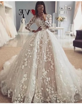 Elegant Jewel 3D Flowers Long Sleeve Ivory Wedding Dress WD2110