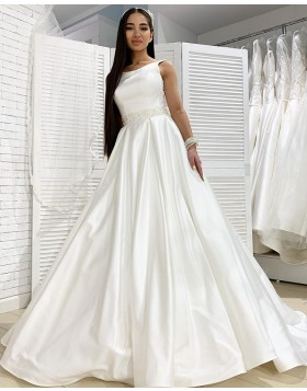 Jewel White Simple Satin Fall Wedding Dress with Beading Belt WD2111