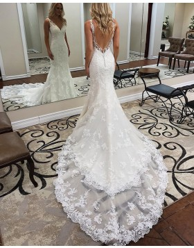 Elegant V-neck Lace Appliqued Mermaid White Wedding Dress WD2112