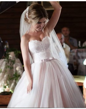 Sweetheart Light Pink Tulle Applique Pleated Wedding Gown WD2113