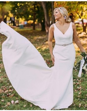 V-neck White Satin Simple Mermaid Wedding Dress WD2116